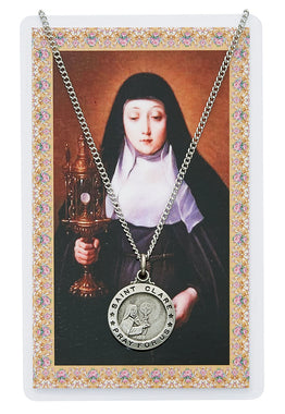 St. Clare Prayer Card and Medal Set - The Paschal Lamb