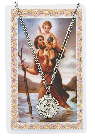 Saint Christopher Prayer Card and Medal Set - The Paschal Lamb