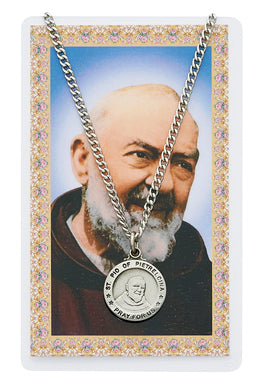 St. Padre Pio Prayer Card and Medal Set - The Paschal Lamb