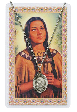 St. Kateri Prayer Card and Medal Set - The Paschal Lamb