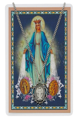 Miraculous Medal (Filigree) Pewter Medal and Card - The Paschal Lamb