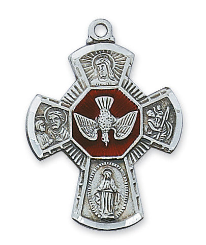 Four Way Medal w/Holy Spirit - The Paschal Lamb