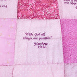Baby Quilt with Embroidered Scriptures - The Paschal Lamb