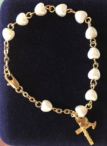 Heart Shaped Faux Pearl First Communion Rosary Bracelet - The Paschal Lamb