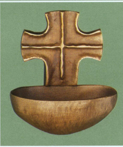 Cross Holy Water Font - The Paschal Lamb