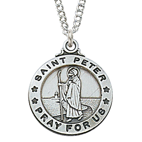 st. peter sterling silver medal - paschallambselect.com
