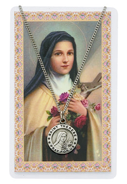 St. Therese of Lisieux Prayer Card and Medal Set - The Paschal Lamb