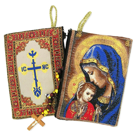Icon Rosary Pouch - Madonna and Child - The Paschal Lamb