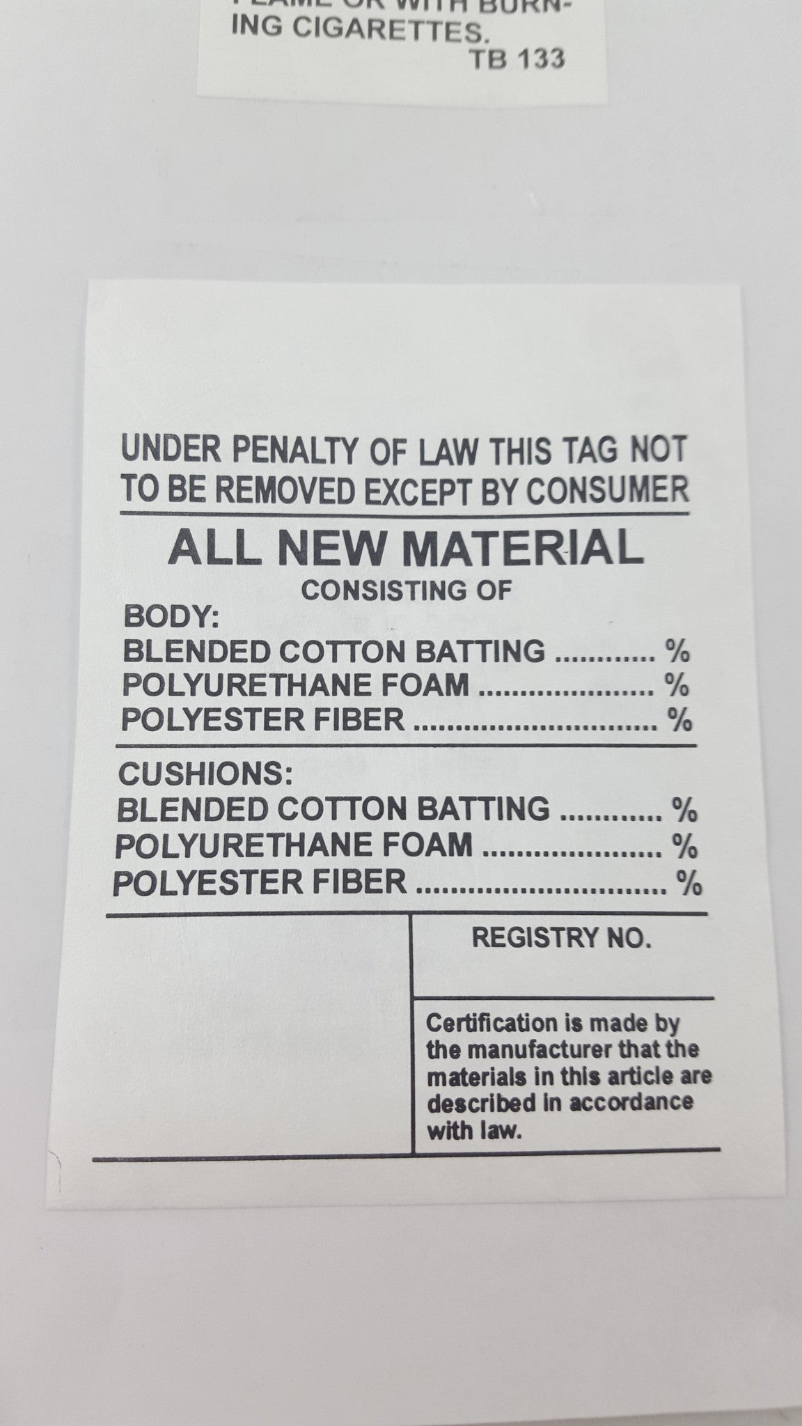 All New Material Law Label Roncofurniture
