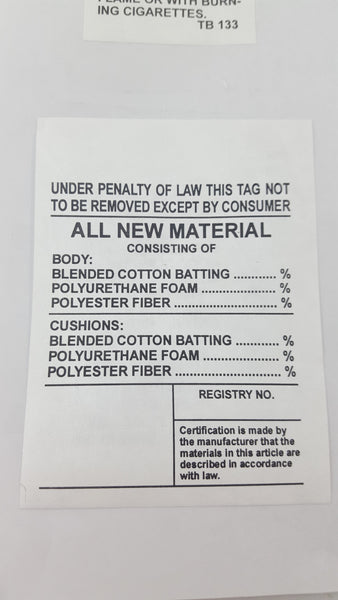 All New Material Law Label