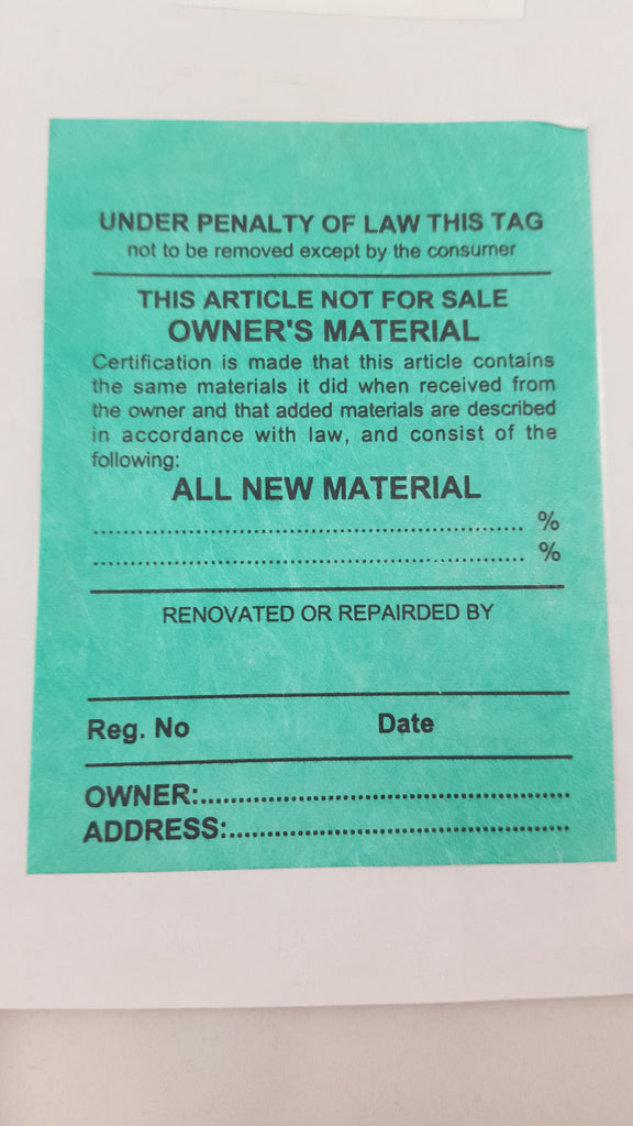 Owner's Material Law Label