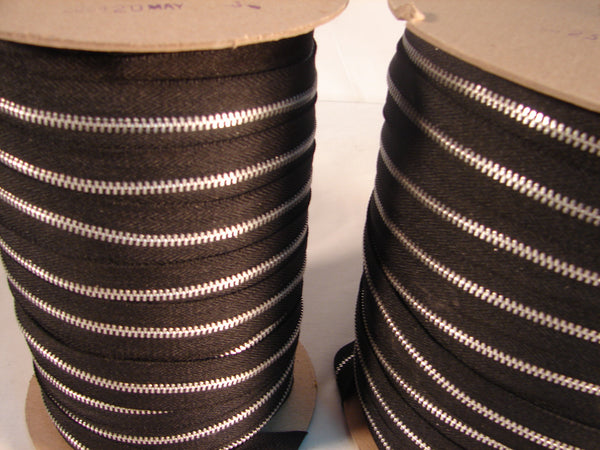 ZIPPER #4  ALUMINUM BLACK 100YDS.