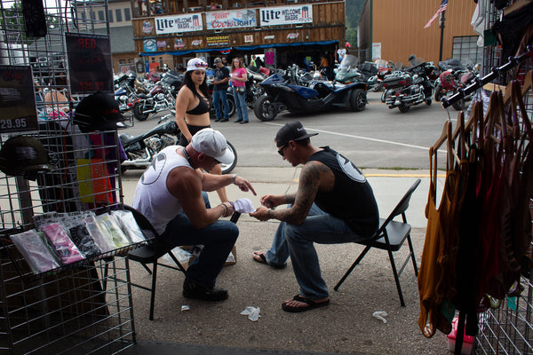 Trust No One Tent Booth Setup Sturgis Main Street Iron Horse TN1 motorcycle rally