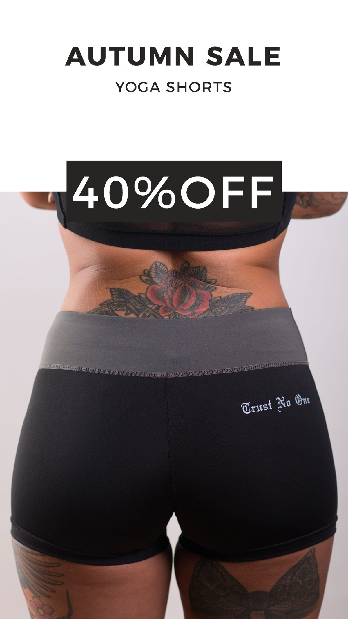 Ladies Trust No One Yoga Workout Shorts 40% Off 40 Percent discount markdown sale girls womens female booty