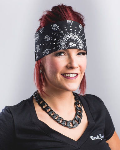 Black and White Women's Ladies Girls Trust No One Bling Bandanas bandana - Bling Bandit - Clothing Apparel rhinestone
