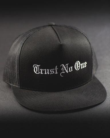 Trust No One Black white lettering Trucker Mesh Snap Back Snapback Hat Cap Ballcap Flat Bill