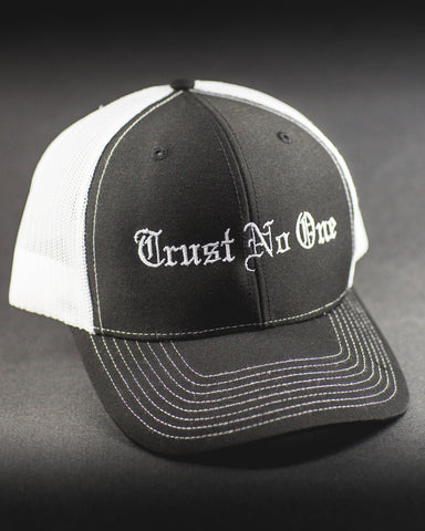 Trust No One Black with white stitching Lettering Trucker Mesh Snap Back Snapback Hat Cap Ballcap