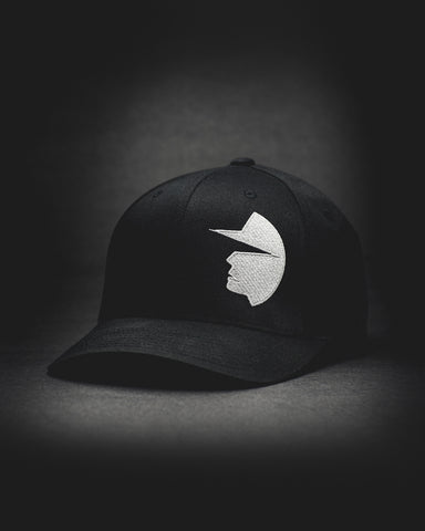 Face of Trust No One Structured Curved Bill Flexfit Hat - Black