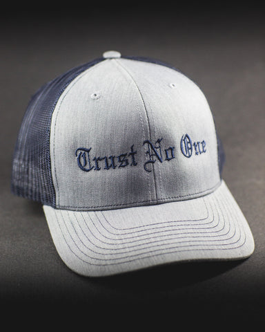 Trust No One Grey and Royal Blue Lettering Sticking Trucker Mesh Snap Back Snapback Hat Cap Ballcap