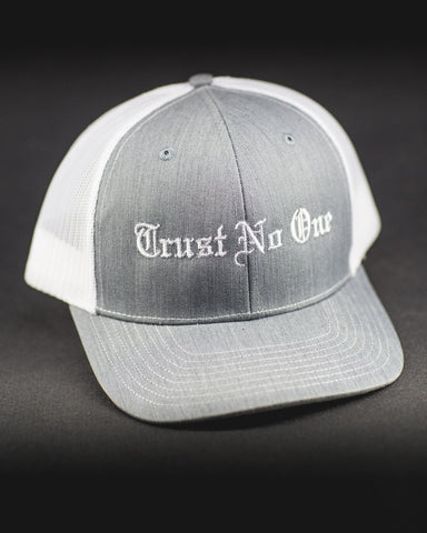 Trust No One Grey White Lettering Sticking Trucker Mesh Snap Back Snapback Hat Cap Ballcap