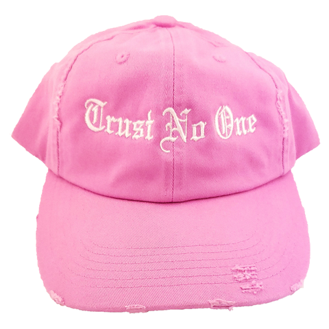 Trust No One Pink Distressed Hat