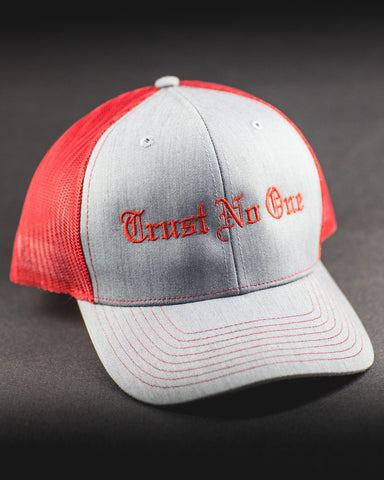 Trust No One Red gray grey Trucker Mesh Snap Back Snapback Hat Cap Ballcap