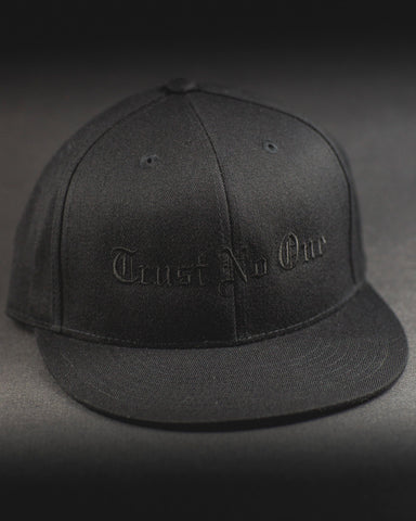 Trust No One Structured Flat Bill Hat - Black on Black