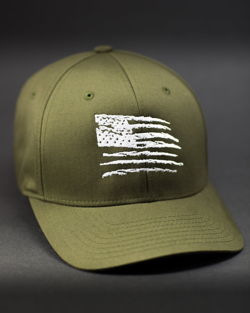 Trust No One Flexfit Curved Bill Old Glory American Flag Hat TN1 TNO  TrustNoOne Olive Drab d8ac53661f3
