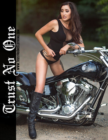 Trust No One TN1 TrustNoBody TrustNoOne TNO Anybody Don't Anyone Model Babe Poster Biker Chick Babe Calendar American Iron Horse Seethrough see through body suit bodysuit brunette