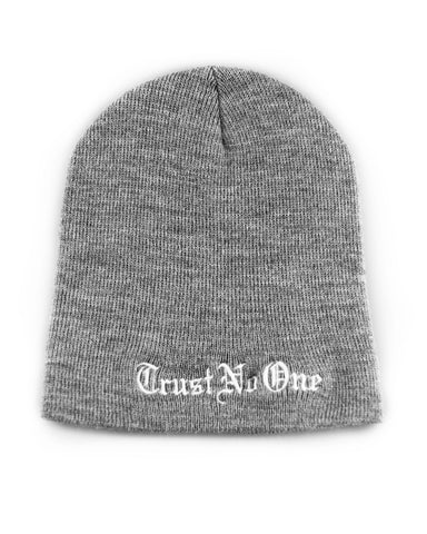 Trust No One Black Winter Beanie Head Hat TN1 TNO TrustNoOne TrustNo1 Dark Grey