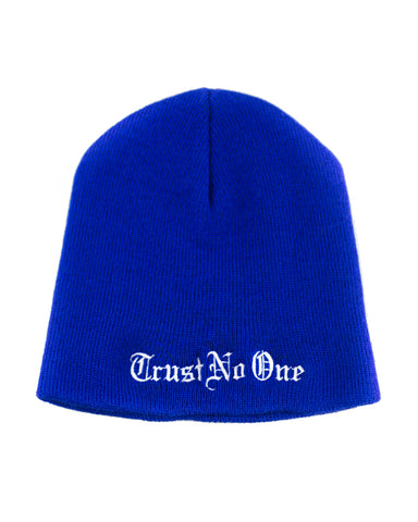 Trust No One Black Winter Beanie Head Hat TN1 TNO TrustNoOne TrustNo1 Royal Blue