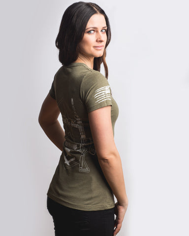 Women's Molon Labe Graphic Crew Neck - Olive Drab Green M16 AR15 Gun Rights Merica America TN1 TNO TrustNoOne TrustNo1