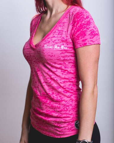 Women's Shocking Pink Burnout  V-Neck