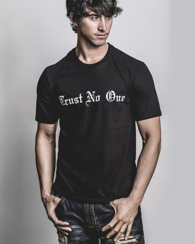 Men's Black Trust No One Crew Neck T-Shirt