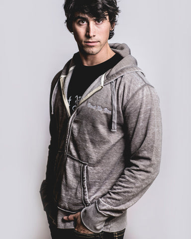 Vintage Gray Fleece Zip Up Hooded Sweatshirt