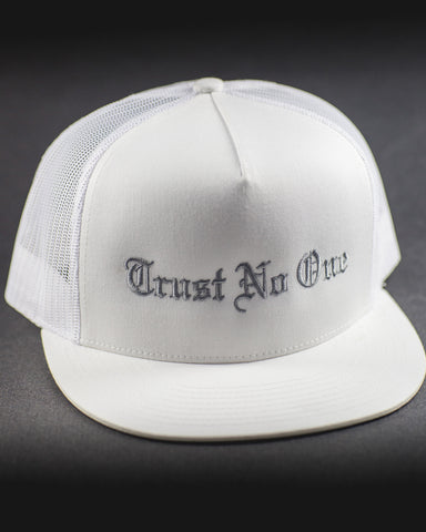 Trust No One Flat Bill White Grey Silver Lettering Sticking Trucker Mesh Snap Back Snapback Hat Cap Ballcap
