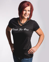 Women's Black Trust No One V-Neck Tee T-shirt shirt shirts TN1 TNO TrustNo1 TrustNoOne