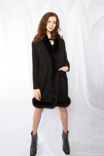 Fur Trimmed Wool Classic Coat
