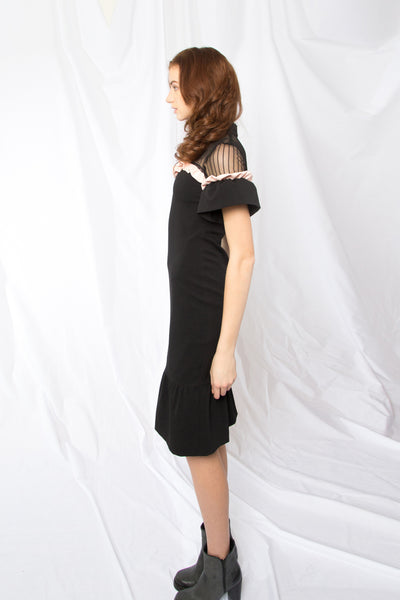 Frill Trimmed Fit And Flare Dress