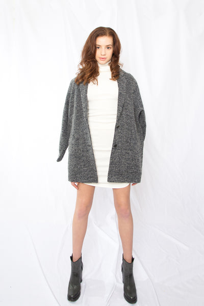 Wool Tweed Oversized Jacket _ Medium grey ( 3 colors)