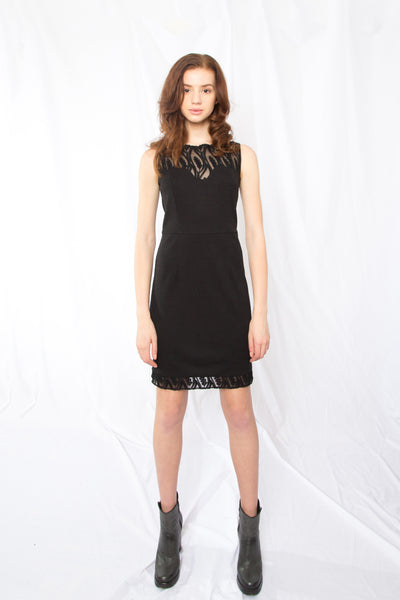 Sheer Upper Bodice Dress_black(2colors)