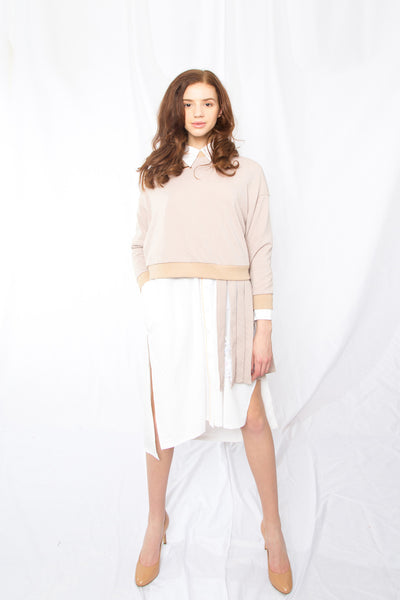 Pleat-skirt Linked Sweatshirt _Black (4 colors)