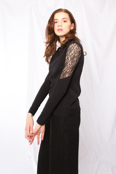 Lace paneled long sleeve top _ Wine