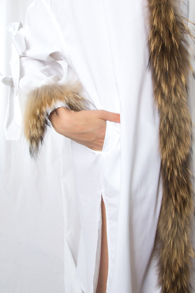 Fur Trimmed Oversized Shirt