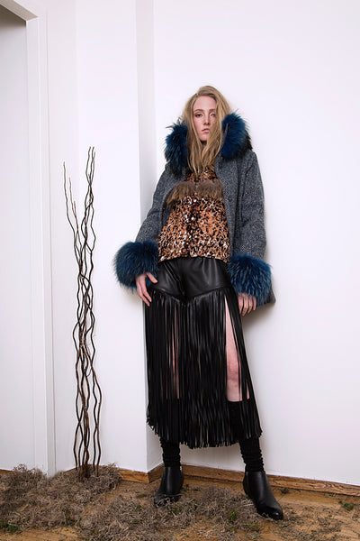 Fur Trimmed High Neck Jacket