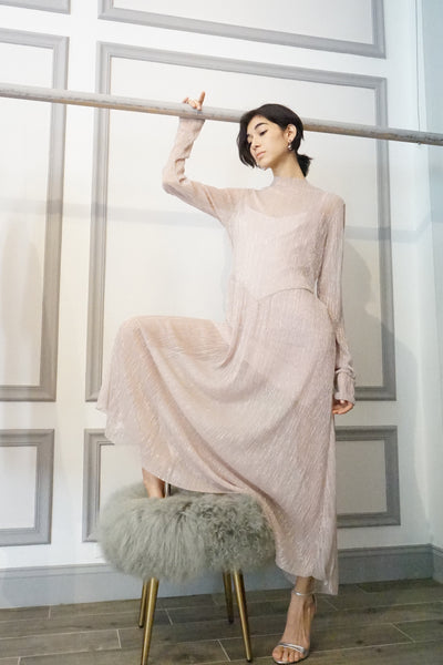 See-through Pleated Metallic Long Dress