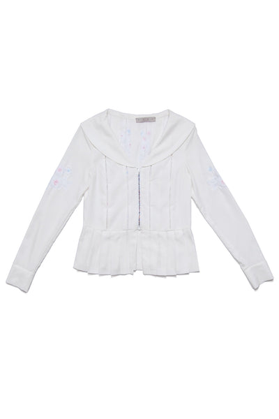 Pleated-stripe Sailor Jacket
