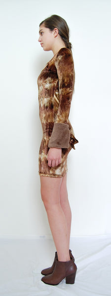 Fur Cuffs Velvet Dress