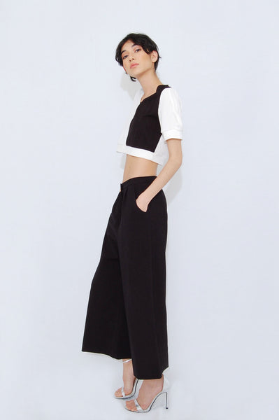 Bubbled Sleeve Crop Top _ Black and white (2 colors)
