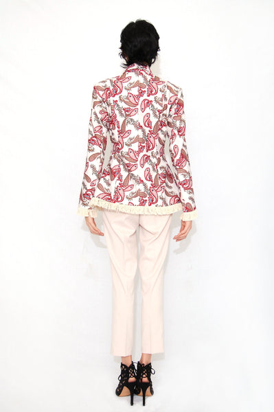 Floral fringe trimmed jacket (2 Colors)
